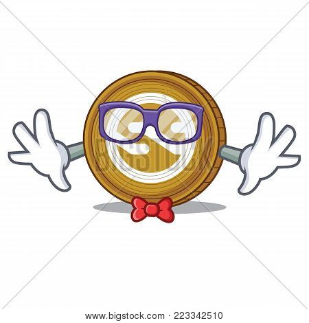 Geek Nxt coin character cartoon vector illustration