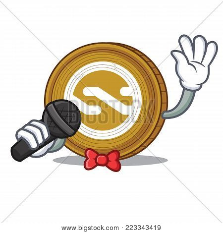 Singing Nxt coin mascot cartoon vector illustration