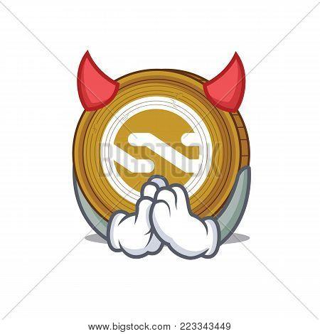 Devil Nxt coin mascot cartoon vector illustration