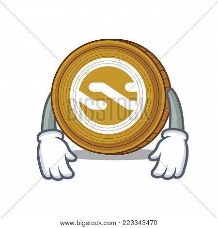 Tired Nxt coin mascot cartoon vector illustration