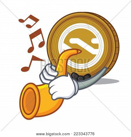 With trumpet Nxt coin mascot cartoon vector illustration