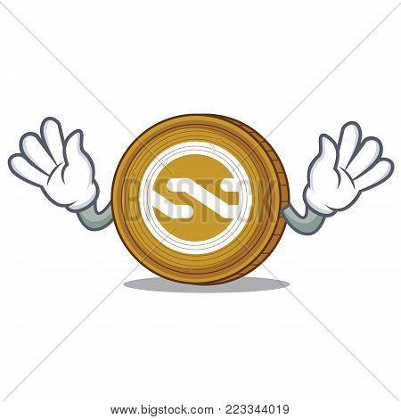 Mocking Nxt coin mascot cartoon vector illustration