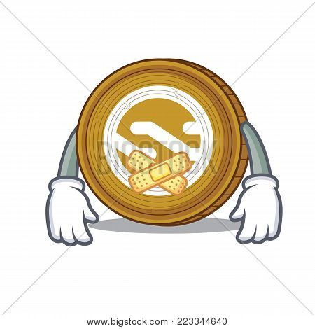 Silent Nxt coin mascot cartoon vector illustration