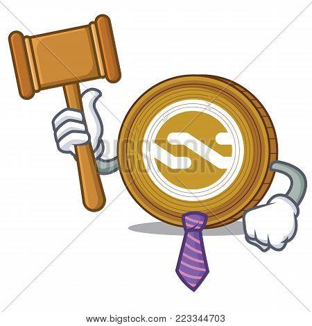 Judge Nxt coin mascot cartoon vector illustration