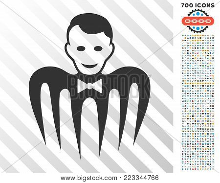 Croupier Monster pictograph with 7 hundred bonus bitcoin mining and blockchain symbols. Vector illustration style is flat iconic symbols designed for bitcoin apps.
