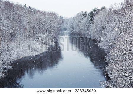 Morrum river in snowy winter, Sweden