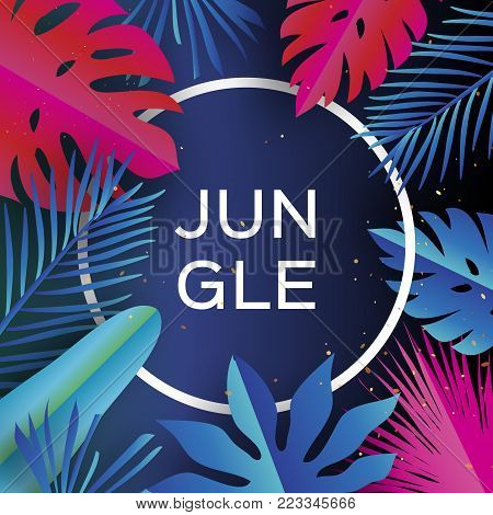 Trendy Jungle banner. Paper cut Tropical palm leaves, plants. Exotic. Hawaiian. Space for text. Circle frame. Bright Colorful jungle floral background. Monstera. Vector illustration