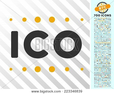Ico Caption pictograph with 7 hundred bonus bitcoin mining and blockchain pictures. Vector illustration style is flat iconic symbols designed for blockchain apps.