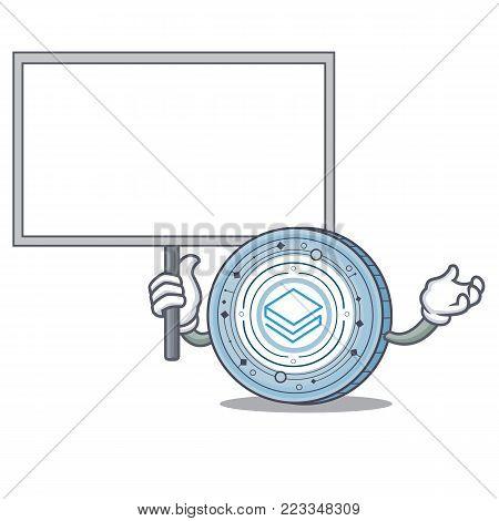 Bring board Stratic coin character cartoon vector illustration