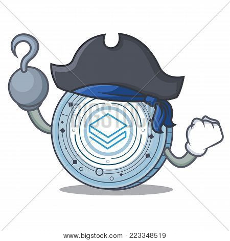 Pirate Stratic coin character cartoon vector illustration