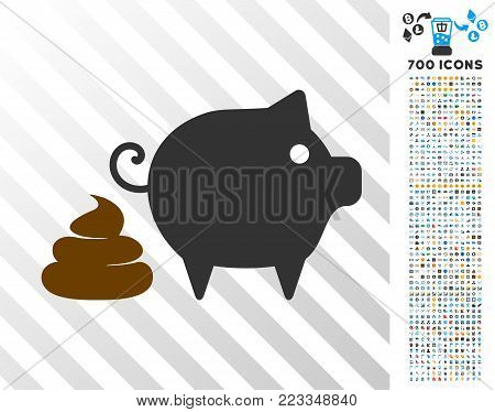 Pig Shit pictograph with 700 bonus bitcoin mining and blockchain pictographs. Vector illustration style is flat iconic symbols designed for crypto-currency websites.