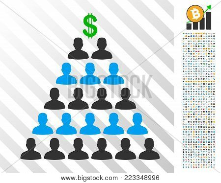 Ponzi Pyramid Scheme pictograph with 7 hundred bonus bitcoin mining and blockchain pictures. Vector illustration style is flat iconic symbols designed for bitcoin software.