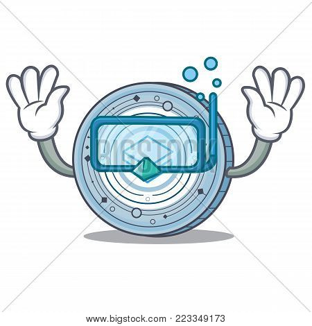 Diving Stratic coin character cartoon vector illustration
