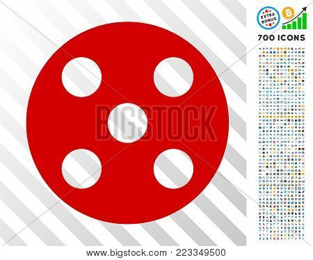 Round Dice pictograph with 7 hundred bonus bitcoin mining and blockchain pictographs. Vector illustration style is flat iconic symbols designed for crypto-currency software.