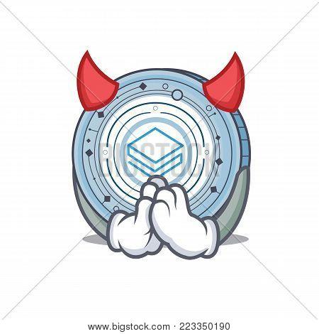 Devil Stratic coin mascot cartoon vector illustration
