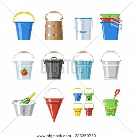 Bucket vector bucketful or wooden pailful and kids plastic pail for playing empty or with water bucketing down in garden and bitbucket for gardening set illustration isolated on white background.