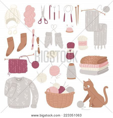 Knitting needles vector wool knitwear or knitted woolen sweater and kitten with woolly ball handknitting logotype set illustration isolated on white background.