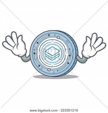 Mocking Stratic coin mascot cartoon vector illustration