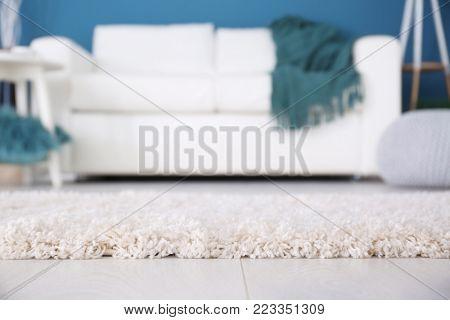 Fluffy carpet on floor in room