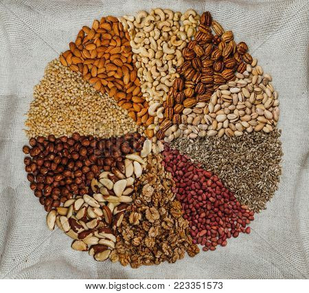 Nuts mix in a canvas bag in table. Ten kinds of nuts: pecan, brazil, cedar, sunflower, hazelnut, almond, peanut, walnut, pistachio, cashew.