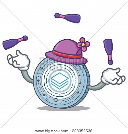Juggling Stratic coin mascot cartoon vector illustration
