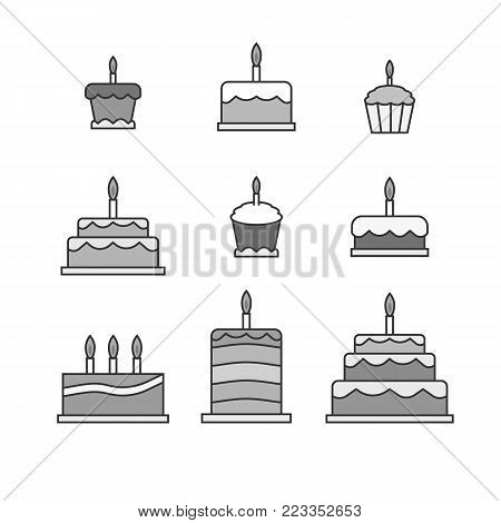 Simple cakes icons. Desaturated sweets stickers illustration
