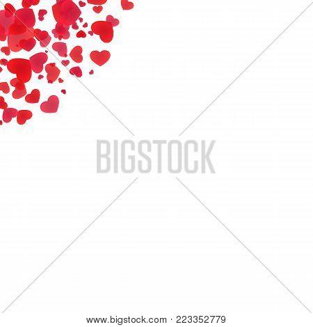 Red heart edge elements. Valentine's day background