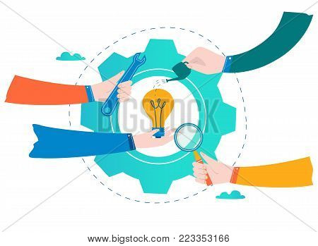 Business development, project and research, testing and improvement design for mobile and web graphics flat vector illustration