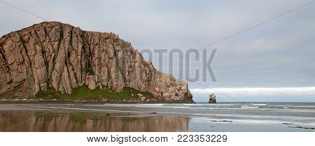 Morro Rock At Sunrise at Morro Bay State Park popular camping spot on the Central California Coast USA