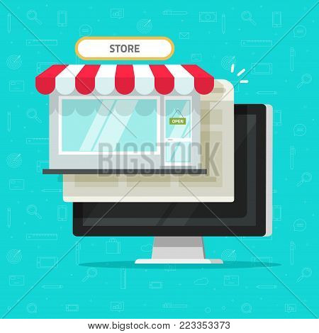 Online shop on computer vector illustration, flat cartoon desktop pc with internet on-line store and browser page window, idea of e-commerce storefront, web commerce, digital supermarket website