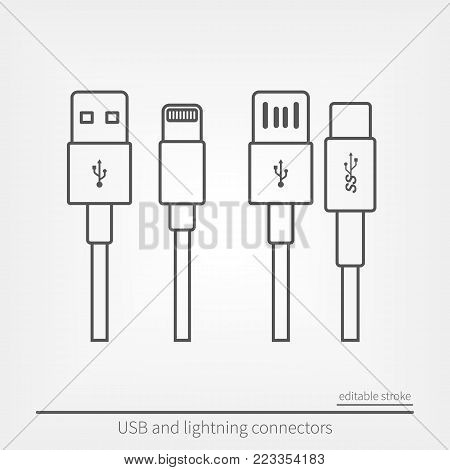 USB and USB type-C modern interfaces. Connectors sign and devices line icons set. Outlets and connectors in flat style.
