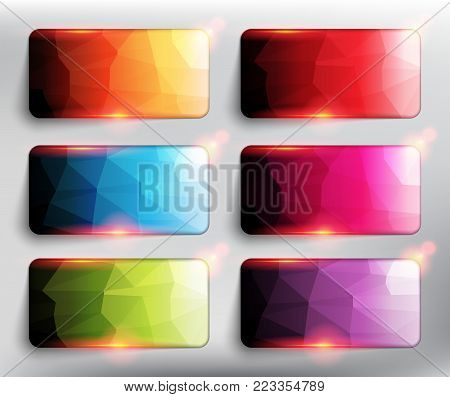 Abstract vector web buttons set of 6. Low poly rectangles in 6 different colors. Isolated with realistic, transparent glass shine and shadow on the light background. Vector illustration. Eps10.