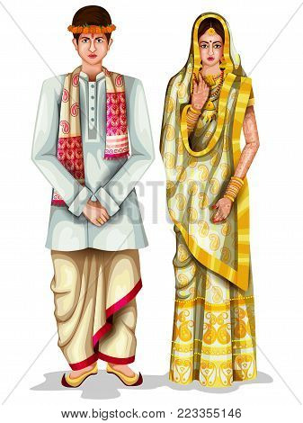 294b37882c easy to edit vector illustration of Assamese wedding couple in traditional  costume of Assam, India
