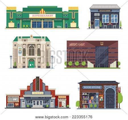 Cartoon city public buildings collection for culture and entertainment. Supermarket, cafe restaurant, theater, music hall, cinema and book shop. Modern city creator set in flat design.