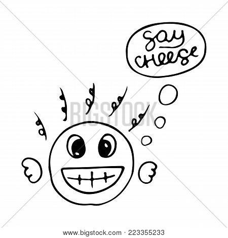 Cute merry fellow with big smile emoticon say cheese. Emoji, smiley - vector