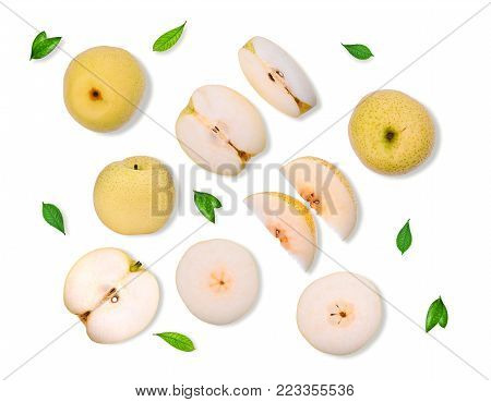 green diamon pear (cuiyu pear) with grren leaf isolated on white background, flat lay, top view