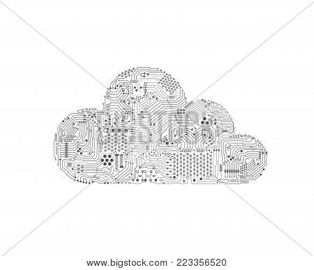 Cloud computing technology with circuit pattern vector illustration