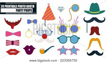 Colorful photo booth props icon set vector illustration. Collection of design elements such as lips, hat, sunglasses, mask. Perfect for photobooth shooting