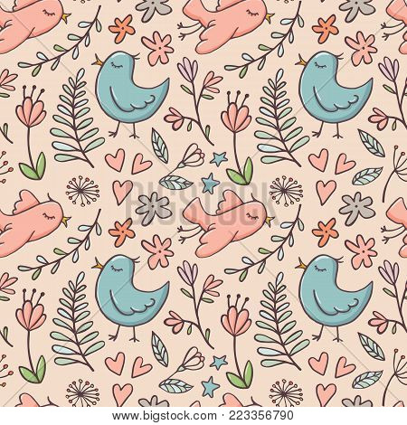 Cute doodle style seamless pattern with birds and flowers on beige background, vector illustration. Birds, flowers and branches doodle seamless pattern, backdrop, background, textile design for kids