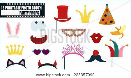 Photo booth props collection for birthday or fun party vector illustration. Funny icons for hat, glasses, crown, easter rabbit and other celements for making photo booth collage
