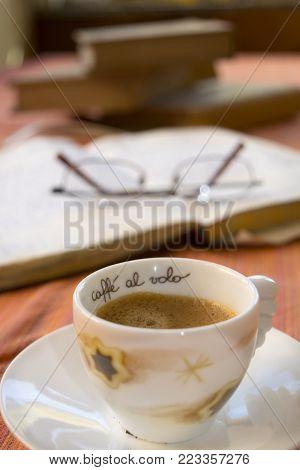 time for a break study break with an espresso coffee