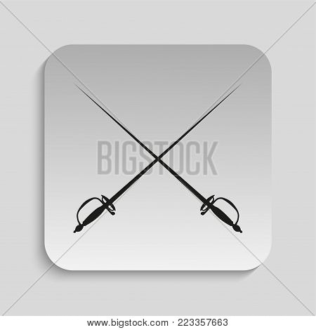 Fencing swords. Vector icon. Black and white vector image on a gray background.