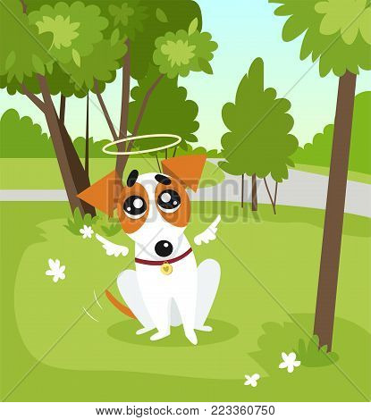 Cute jack russell terrier dog with angel wings and a halo sitting in the park on summer day colorful vector Illustration in cartoon style.
