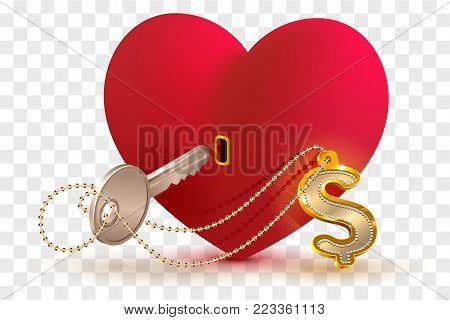 Money dollar is key to heart of your beloved. Red heart shape lock and key with key ring home. Isolated on transparent background vector illustration