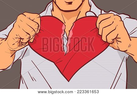Closeup Of Man Hands Tearing Heart Shape On Grey Background Relationship Crisis, Divorce And Betrayal Concept Vector Illustration