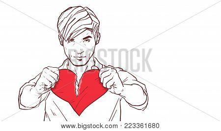 Handsome Man Tearing Red Heart Shape Apart Heartbroken Sketch On White Background Relationship Divorce And Betrayal Concept Vector Illustration