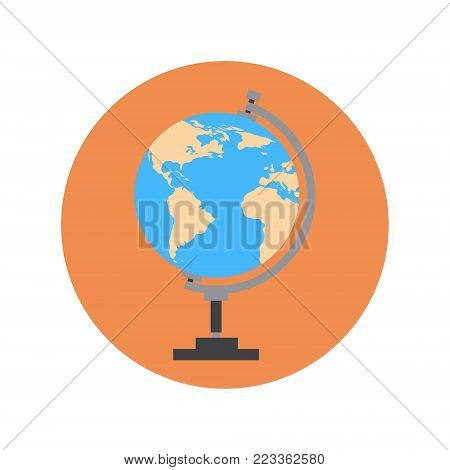 Earth Globe Icon World Travel Concept Flat Vector Illustration