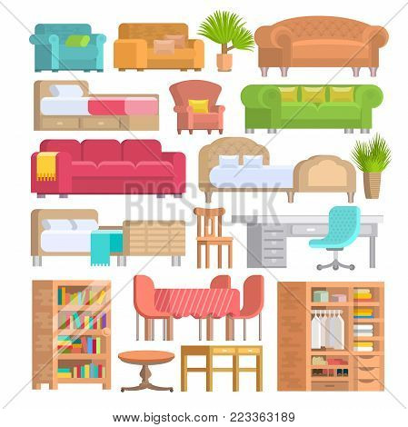 Furniture vector furnishings design of bedroom with bedding on bed in furnished interior of apartment and furnishing room with sofa armchair or chair set illustration isolated on white background.