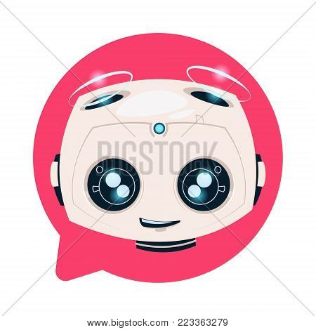 Chat Bot Cute In Speech Bubble Icon Concept Of Chatbot Or Chatterbot Technology Flat Vector Illustration