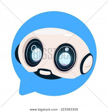 Chatter Bot Cute Robot Icon In Speech Bubble Icon Concept Of Chatbot Or Chat BotTechnology Flat Vector Illustration